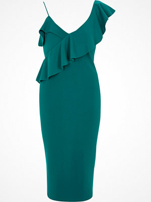 River Island River Island Womens Green frill shoulder bodycon midi dress
