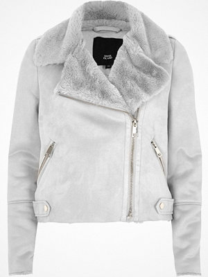 River Island Grey faux shearling biker jacket