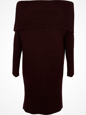 River Island Dark Purple foldover bardot jumper dress