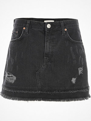 River Island Black distressed denim mini skirt