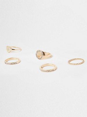 River Island River Island Womens Gold tone diamante encrusted ring pack