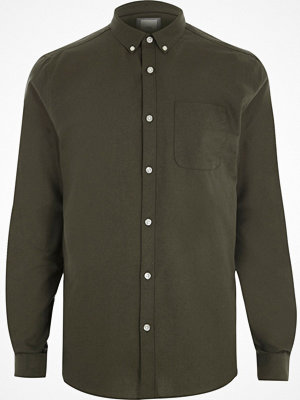 Skjortor - River Island Khaki green long sleeve Oxford shirt