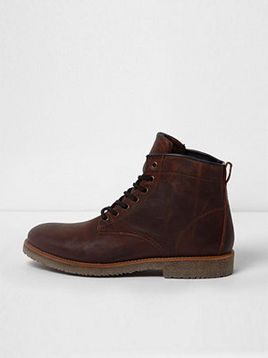 River Island River Island Mens Brown leather lace-up work boots
