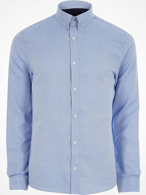 Skjortor - River Island Blue stripe collar bar slim fit shirt