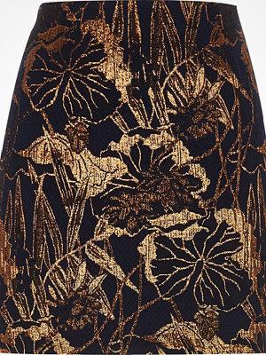 River Island Navy floral metallic jacquard mini skirt