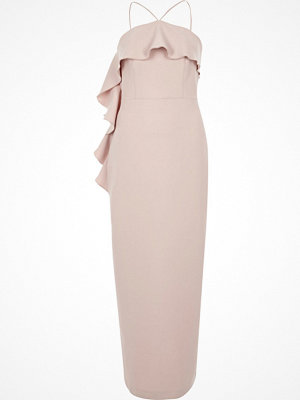 River Island Light Pink cross neck frill bodycon dress