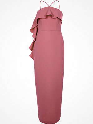 River Island Dark Pink cross neck frill bodycon dress