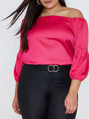 River Island River Island Womens Plus bright Pink bardot puff sleeve top