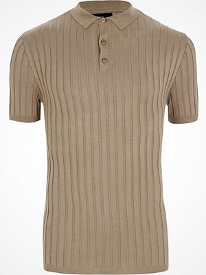 Pikétröjor - River Island Light Brown rib knit muscle fit polo shirt