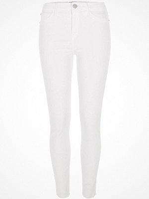 River Island White Molly raw hem jeggings