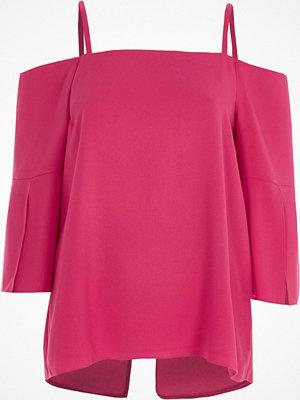 River Island River Island Womens Pink cold shoulder split sleeve top