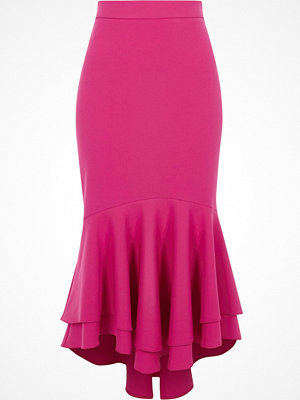 River Island Pink tiered frill fishtail pencil skirt