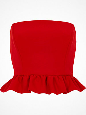 River Island River Island Womens Red frill bandeau crop top