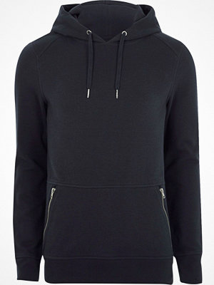 River Island Navy pique zip pocket muscle fit hoodie