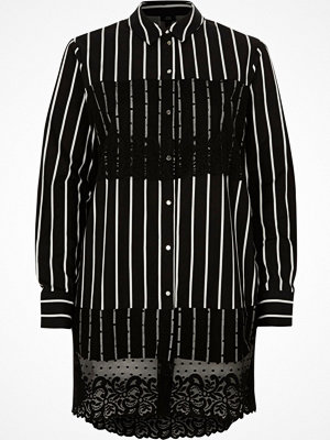 River Island Black stripe lace panel longline shirt
