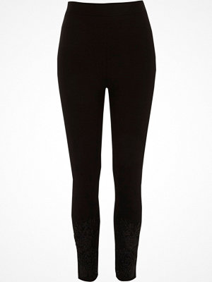 Leggings & tights - River Island River Island Womens Black lace hem embellished leggings
