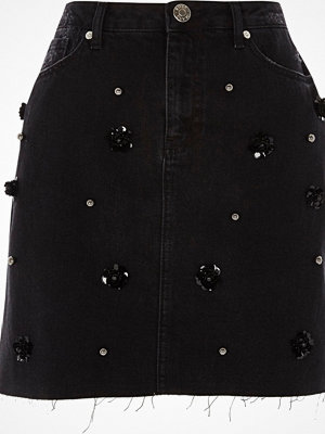 River Island Black flower sequin embellished denim skirt