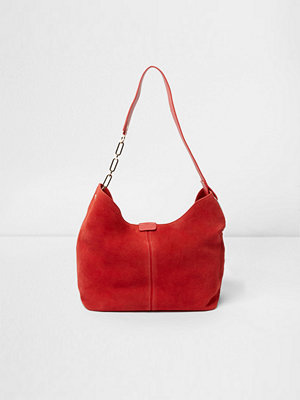 River Island röd axelväska River Island Womens Red suede chain link handle slouch bag