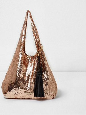 River Island omönstrad axelväska River Island Womens Rose Gold sequin oversized slouch bag