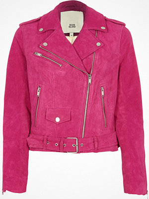 River Island River Island Womens Bright Pink suede biker jacket