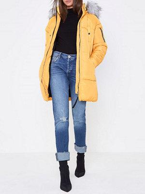 River Island Yellow longline faux fur trim puffer jacket