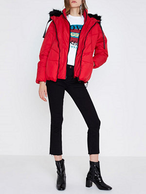 River Island Red faux fur trim oversized puffer jacket