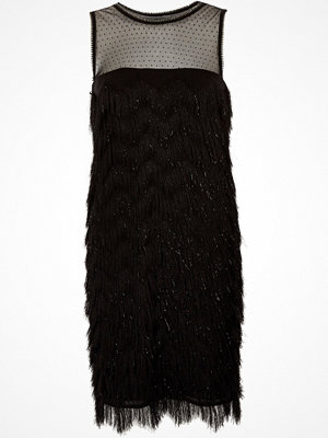 River Island Black fringe dobby mesh sleeveless dress