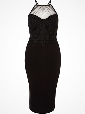 River Island Black floral lace mesh insert bodycon dress