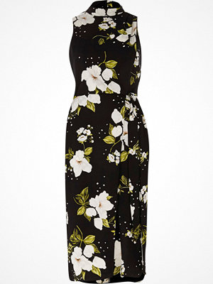 River Island Black floral high neck wrap midi dress