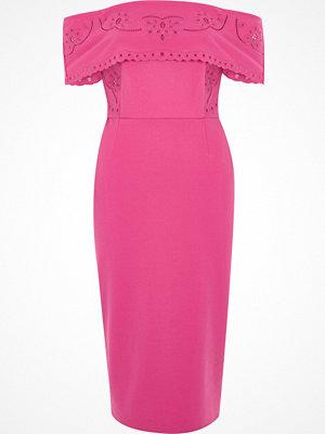 River Island River Island Womens Pink broderie bardot bodycon midi dress