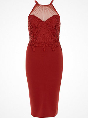 River Island Red floral lace mesh insert bodycon dress