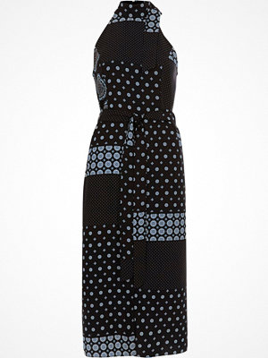 River Island Blue tile print high neck waisted midi dress