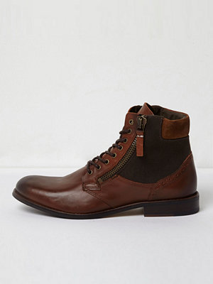 River Island River Island Mens Dark Brown canvas side lace-up boots