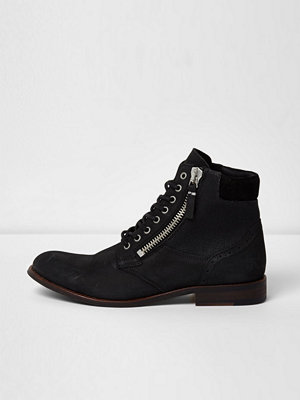 River Island River Island Mens Black leather canvas side lace-up boots