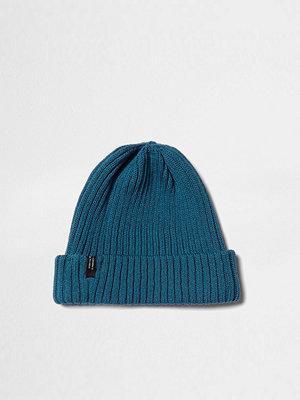 Mössor - River Island Teal blue ribbed knit beanie hat