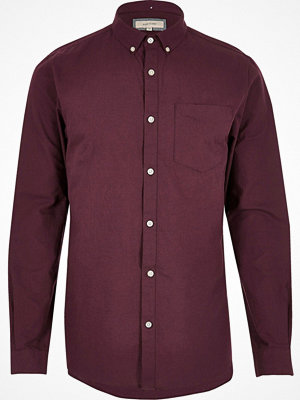Skjortor - River Island Big and Tall burgundy long sleeve shirt