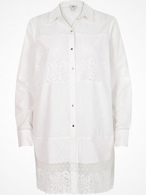 River Island River Island Womens White lace panel longline shirt