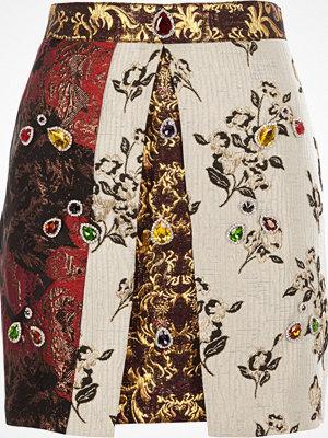 River Island Red jewel embellished jacquard A line skirt