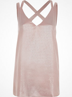 River Island River Island Womens Pink metallic double strap cross back vest