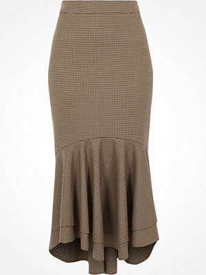 River Island Brown check tiered fishtail pencil skirt