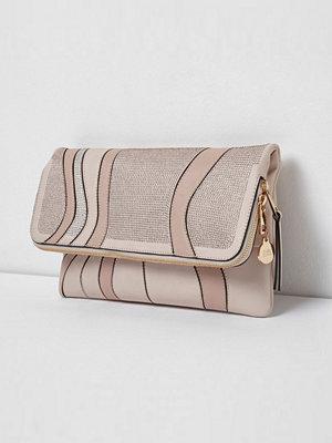 River Island mönstrad kuvertväska River Island Womens Pink heatseal diamante foldover clutch bag