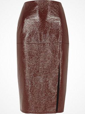 River Island Dark Red vinyl pencil skirt