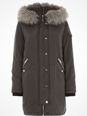 River Island River Island Womens Grey faux fur trim split hood parka