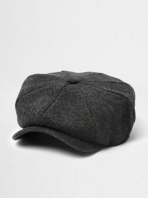 Mössor - River Island Grey herringbone baker boy hat