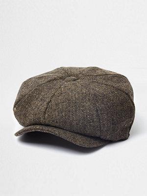 Mössor - River Island Brown herringbone baker boy hat