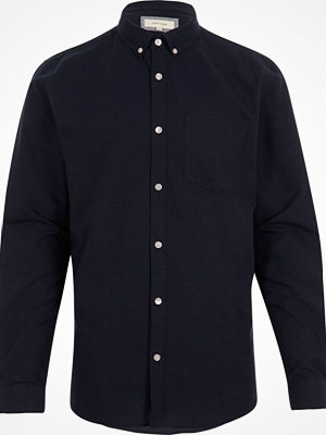 Skjortor - River Island Big and Tall Navy long sleeve oxford shirt
