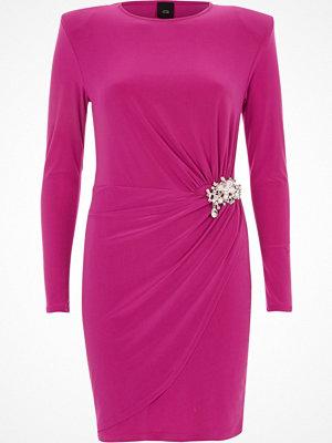 River Island River Island Womens Bright Pink pearl brooch wrap bodycon dress