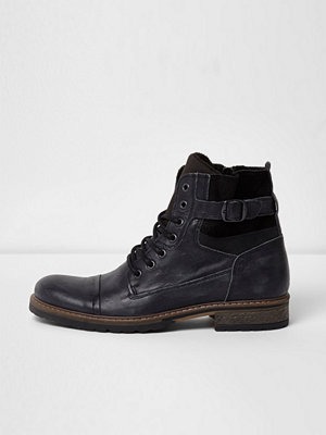 River Island River Island Mens Black side buckle leather military boots
