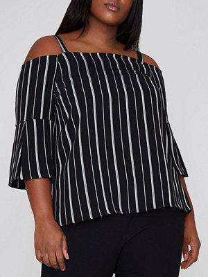 River Island River Island Womens Plus Black stripe bardot top