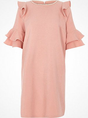 River Island River Island Womens Pink frill faux pearl neck swing dress